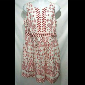 NEW Talbot's Sleeveless Embroidered Dress 14W